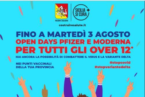 """Vaccini Sicilia, fino al 3 agosto """"Open Days"""" per gli over 12"""